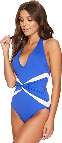 Lauren Ralph Lauren Women's Beach Club Plunge Twist Halter One-Piece Shaping Fit w/Removable Cups Capri Blue 4 by Lauren by Ralph Lauren (Image #1)