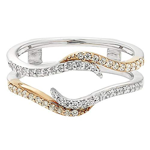 - 14K TwoTone Gold Over Sterling Silver Simulated Diamond Solitaire Ring Guard Wrap Enhancer Jacket Wedding Engagement Anniversary Ring
