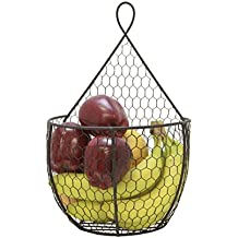 J Miles CO UH-WB284-BLK Hanging Display Storage Baskets - Wall Mount Baskets 1 Small Wall Hanging Units for Flowers, Fruits and Veggies, Decorations, and More (Black,1 Small)