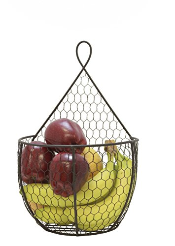 J Miles CO UH-WB285-BLK Hanging Storage Basket - 1 Large Wall Mount Hanging Basket Unit for Flowers, Fruits and Veggies, Decorations, and More (Black, 1 Large Basket)