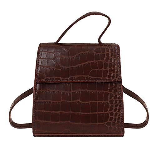 Queena Women Crocodile Leather Top Handle Satchel Adjustable Shoulder Bag Tote Purse -
