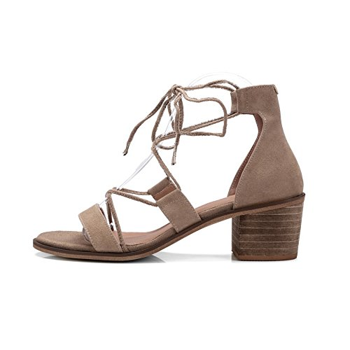 Womens Chunky Heeled Self 1TO9 MJS02706 Bows Tie Suede Heels Apricot Sandals PgnCqwa