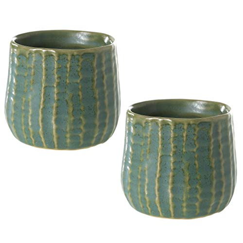 (Accent Decor Green Striped Textured Ceramic Vase- Set of 2-3in x 2.5in Palmero Pot - Soft Teal Green with Cream Striped Plant Holder for Modern Home and Office Decor)
