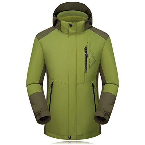 Waterproof Hat Ski Jacket Green FYM Long JACKETS Zipper Men's Sleeves Coat Removable DYF wapPq4H