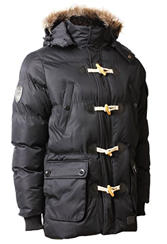 Max Edition Men's Padded Quilted Parka Jacket Faux Fur Hood Winter Coat Nagano Large Black (Faux Fur Coat Limited Edition)