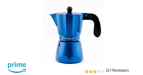 Oroley - Cafetera Italiana Inducción Blue Induction para Todo tipo de Cocinas, 3-6 Tazas
