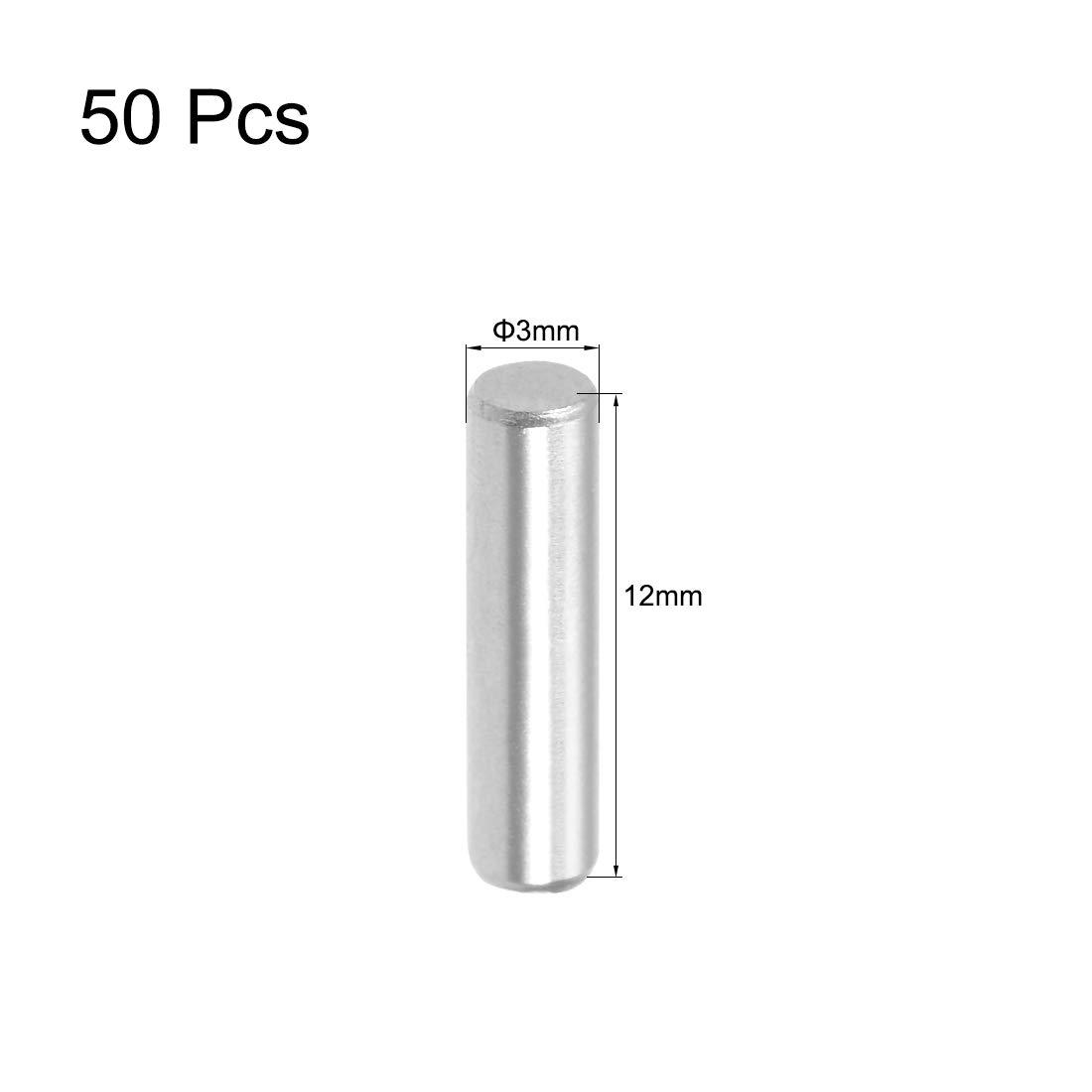 sourcing map 50pcs 3mm x 12mm Pasador Pasador de Acero Inoxidable 304 Soporte Pin Sujetar Elementos