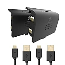 GameSir Xbox One Battery Pack, 800mAh Rechargeable Battery (2-Pack) with 10ft USB Charging Cable for Xbox One Controllers, Black