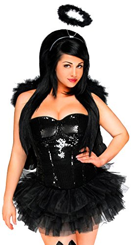 Daisy corsets Women's 4 Piece Sequin Angel Costume, Black -