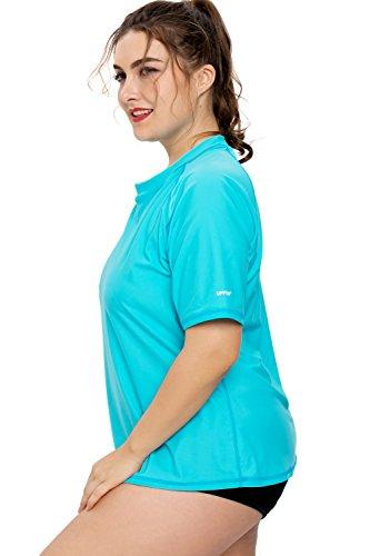 a7d08f6886 Sociala Women Plus Size Rashguard Swim Shirt Short Sleeve Rash Guard Top 2X  Blue