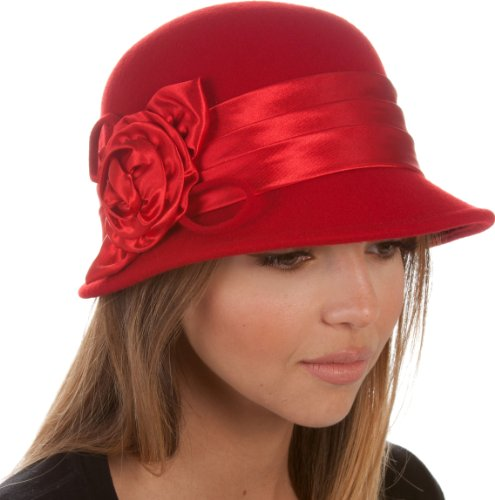 ntage Style 100% Wool Cloche Bucket Winter Hat with Satin Flower Accent ( 6 Colors ) - Red/One Size (Cloche Style Red Wool Hat)