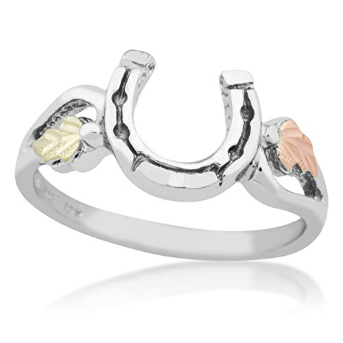 Mt.Rushmore Black Hills Silver Horse Shoe Ring with 12k Gold Leaf ()