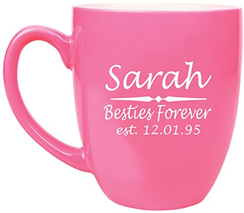 Engraved Coffee Mug (ANY TEXT Custom Engraved Coffee Mug, Laser Engraved Personalized Ceramic Coffee Cup with Color Choices - BM01)