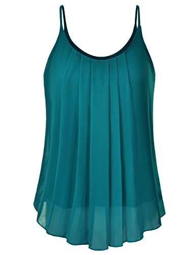 (EIMIN Women's Pleated Chiffon Layered Sleeveless Cami Tank Tunic Top Teal S)