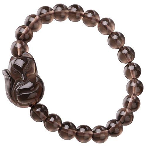 Womens Fashion Jewelry Natural Gemstone Round Beads Ice Obsidian Amulet Lucky Fox Stretch Bracelet