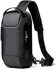 Bolsa tiracolo masculina impermeável USB Oxford, bolsa tiracolo antirroubo, mochila multifuncional, Clássico,