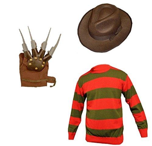 Mens Freddy Halloween Krueger Style Horror Fancy Dress