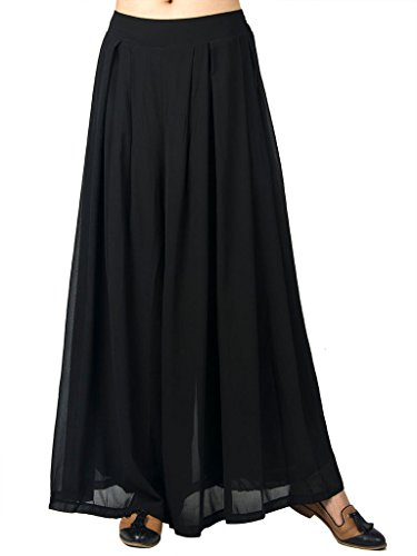 Choies Women's Chiffon Pleated Plain Elastic Waist Wide Leg Palazzo Pants Black One Size
