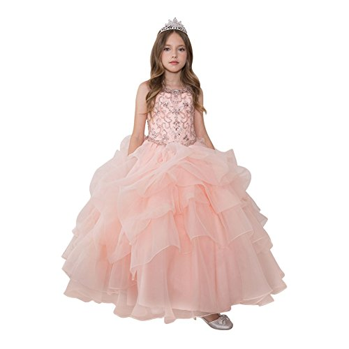 Calla Collection Little Girls Blush Glitter Ruffled Gorgeous Pageant Dress 6 by Calla Collection USA