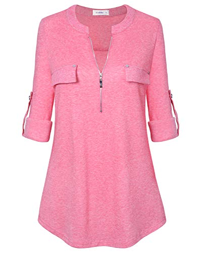 Women's Tunic Tops, Zip Front V-Neck 3/4 Rolled Long Sleeve for Leggings Pink ()