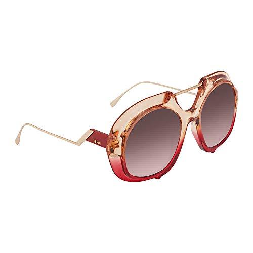 Fendi Women's Thick Aviator Sunglasses, Pink Red/Pink Gradient, One ()