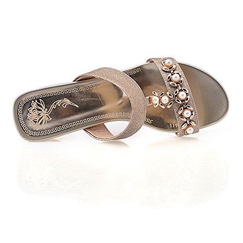 AdeeSu - Zapatos con tacón mujer dorado