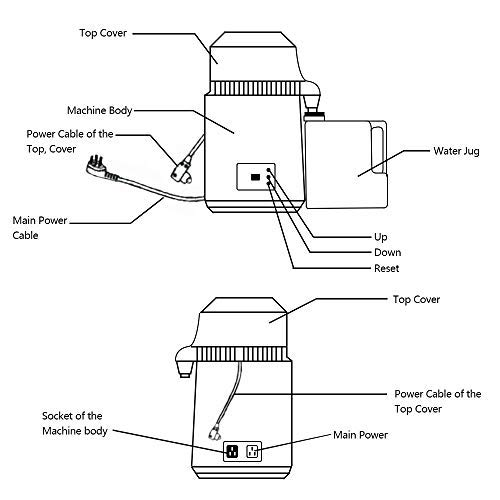 4L 750W Destilador de Agua de Acero Inoxidable ZEHNHASE 1,1 Galones Purificador de Agua con manija Botones Dobles