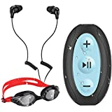 AGPTEK 8GB Waterproof MP3 Player with Shuffle, Underwater Headphones for Swimming, S66(Black)