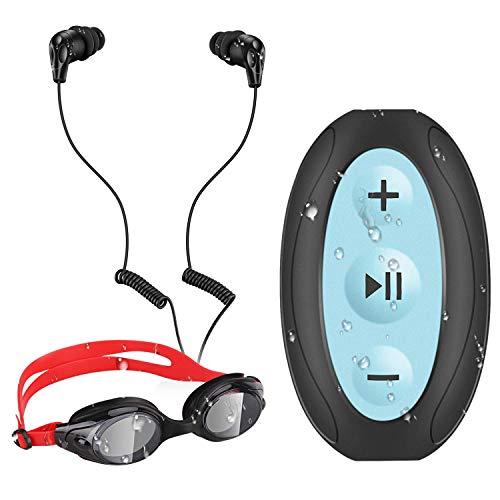 AGPTEK 8GB Waterproof MP3 Player with Shuffle, Underwater Headphones for Swimming, S66(Black)