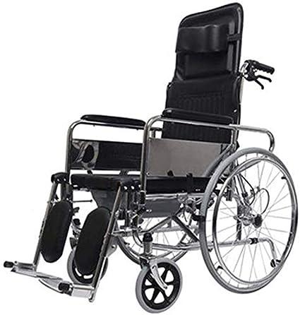 KLKLK - Silla de Ruedas Plegable Incluso con propulsor, Respaldo Alargado, Puede Utilizarse como Cama de Cuidado y Pesado
