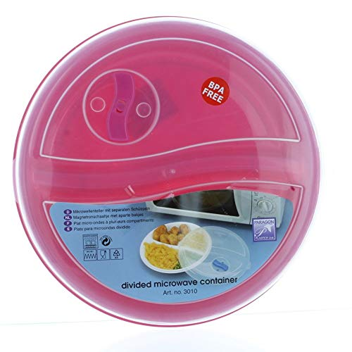 4 Pack Microwave Safe Divided Container Plates With Vented Lid   BPA free Freezer Safe Food Containers   Compartment Divided Plate for Storing Cooked Food ()