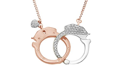 Jewel Zone US White Natural Diamond Handcuff Two Tone Pendant Necklace in 14k Rose Gold Over Sterling Silver (0.17 Ct)