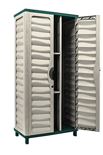 Starplast Storage Cabinet with Vertical Partition and 2 Shelves, Beige/Green