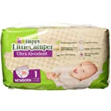 Happy Little Camper Ultra Absorbent Premium Natural Diapers, Size 1, 36 Count
