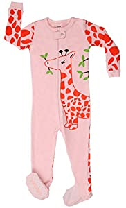 "Elowel Baby Girls footed ""Giraffe"" pajama sleeper 100% cotton (size 6M-5Years)"