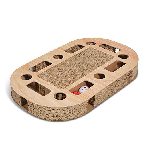 Supremery Katzenspielplatz 52x31x5,5cm mit integrierter Kratzpappe XXL Katzenspielzeug Kratzmöbel Kratzbrett aus…