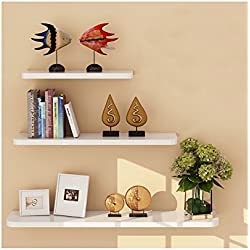 WUDENHOM White Shelf for Wall, Set of 3 Wall Mount Wood Floating Decorative Long Shelves for Home Decoration(12,16,20Inch Long)
