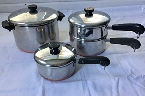 Lot: Revere 6 qt stock pot; 2qt & 1.5qt Saucepans, Steamer & Lids Copper Bott
