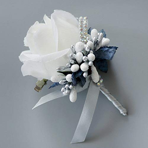 cici store 1Pc Wedding Artificial Brooch Bouquet,Glitter Rhinestone Bride Groom Prom Boutonniere with Pin,White + Silver Ash