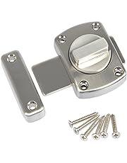 FOCCTS Deurgrendel, diefstalbeveiliging, geborsteld roestvrij staal, deurslot voor badkamerdeur, kastdeur, geschikt voor verschillende deuren, zilver