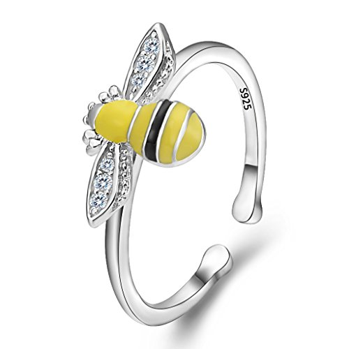 EleQueen 925 Sterling Silver Cubic Zirconia Yellow Enamel Cute Honey Bee Adjustable Cocktail Ring - Sterling Silver Honey