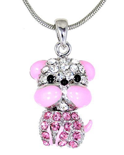 New Adorable Pink Crystal Bulldog Pendant Charm Necklace Dog Puppy