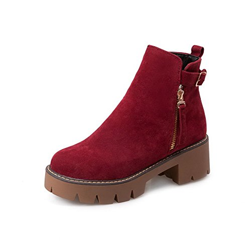 Solid Red Boots AmoonyFashion Top Round Kitten Low Toe Women's Heels Zipper Closed BPpUw4tqP