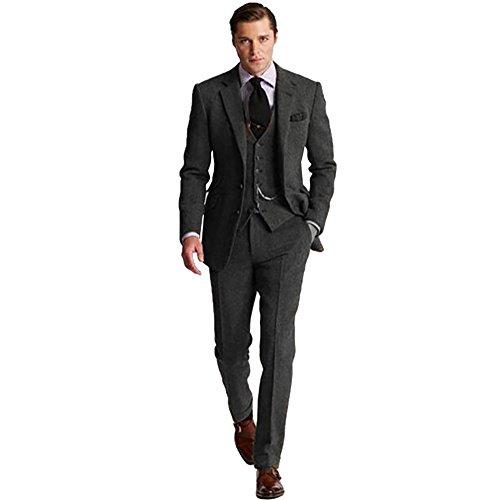 Retro 3 Piece Brown Grey Tweed Herringbone Men's Suits Slim Fit Groom Tuxedos Prom Blazer Custom Jacket ()