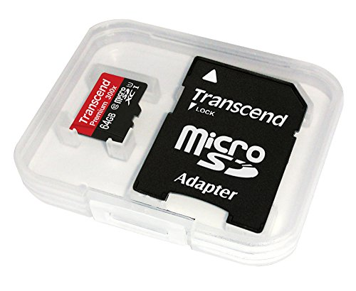 Transcend 64GB MicroSDXC Class10 UHS-1 Memory Card with Adapter 45 MB/s (TS64GUSDU1E) Frustration-Free Packaging