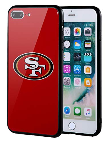 Sportula NFL Phone Case - 9H Tempered Glass Back Cover and Silicone Rubber Bumper Frame Compatible Apple iPhone 8 Plus / 7 Plus (San Francisco 49ers)