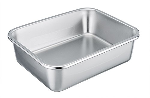 TeamFar Rectangular Cake Pan Brownie Pan, Stainless Steel Lasagna Casserole Baking Pan, 8'' x 10'' x 3'', Rust Free & Non Toxic, Easy Clean & Dishwasher Safe (Chicago Metallic Angels Non Stick Pan)