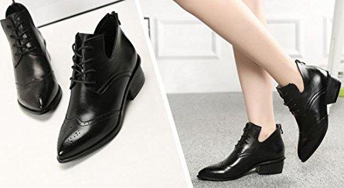 Schnuerschuhe Winter Leather Martin Boots neue Schwarz mit Ankle Riding Absatz niedrigem Wohnung Frauen qqPZra
