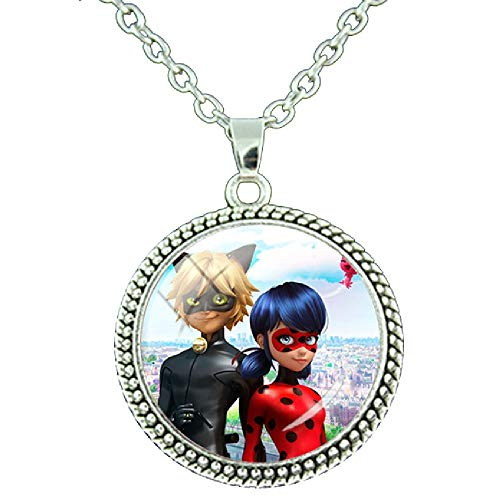 JWEIJIAO Miraculous Ladybugs Glass Gems Pendant Necklace Round Charms Lady Bug Girl and Black Cat Jewelry (LB56)