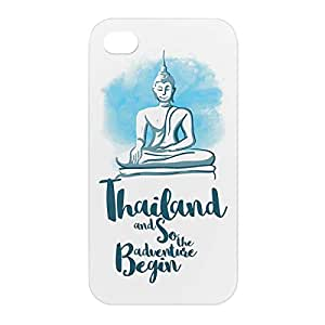 Loud Universe Apple iPhone 4/4s 3D Wrap Around Thailand Print Cover - White/Blue
